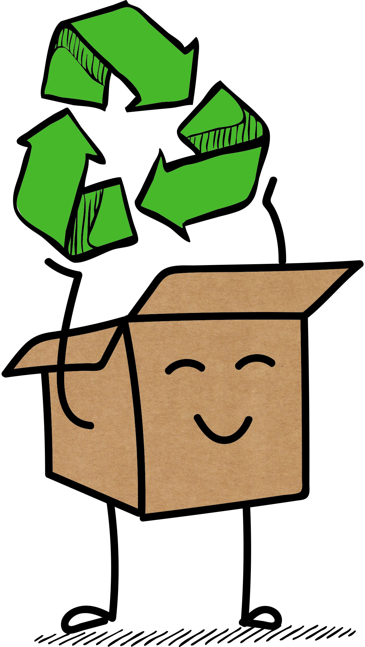 Grafik: Paket, als Männchen stilisiert, hält das Recycling-Symbol hoch