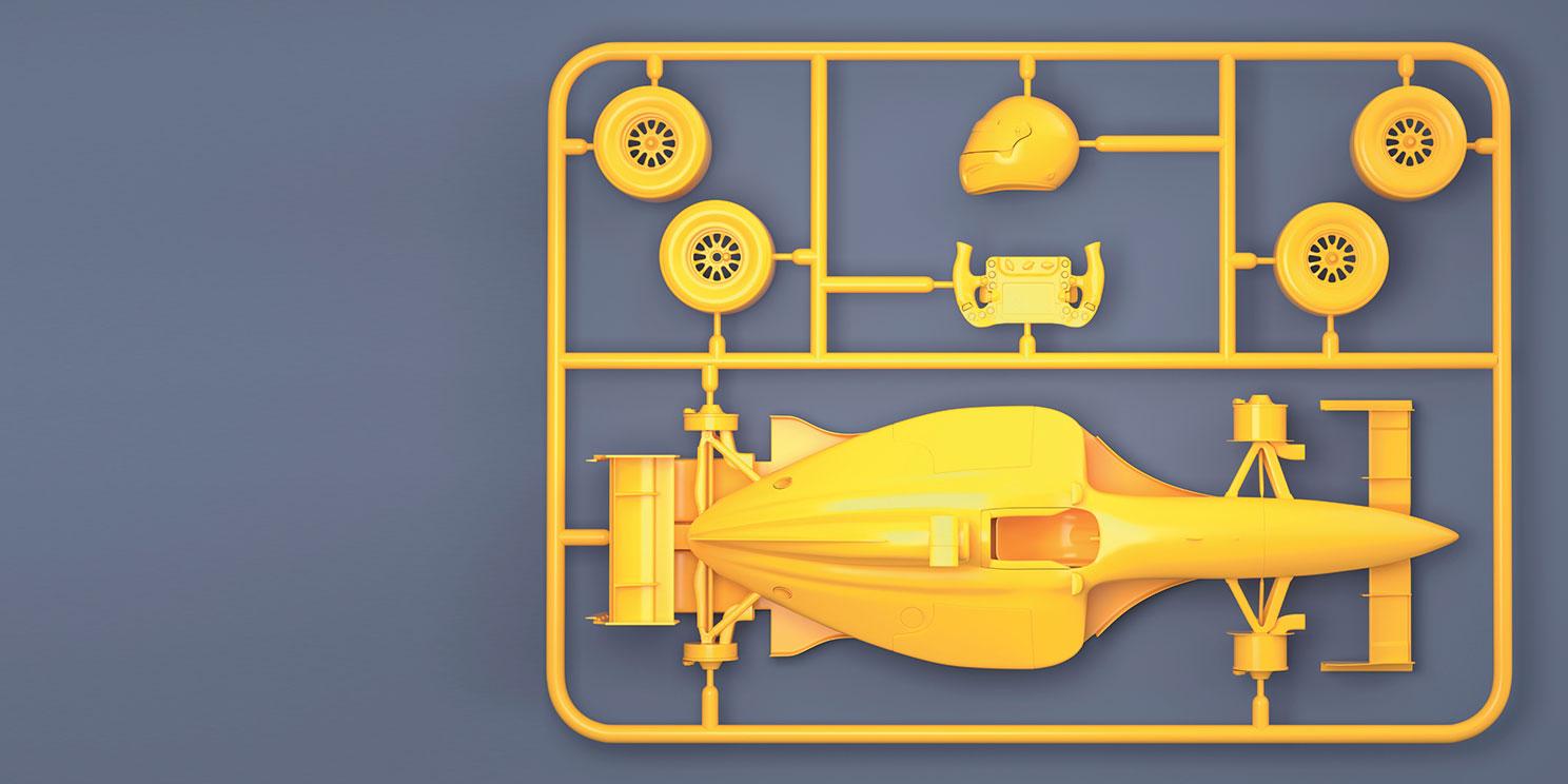 Modellrennauto zum Selberbauen aus Kunststoff